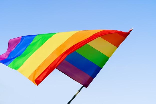 Vrolijke regenboogvlag die in de wind in een duidelijke blauwe hemel golft