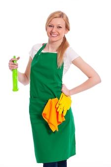 Vrolijke reiniger met vloeibare en beschermende handschoen