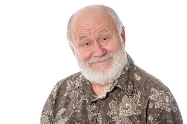 Vrolijke senior man geïsoleerd op wit
