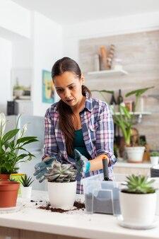 Vrolijke vrouw die voor huisbloemen zorgt die in de keuken op tafel zit