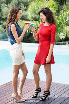 Vrolijke vrouwelijke vrienden die cocktails roosteren