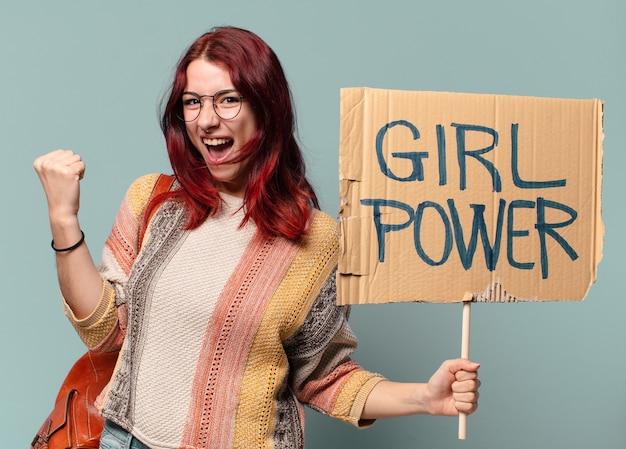 Vrouw activist. meisje machtsconcept