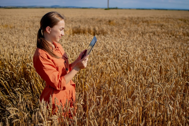 Vrouw agronoom met tabletcomputer op het gebied van tarwe controle van kwaliteit en groei van gewassen voor landbouw