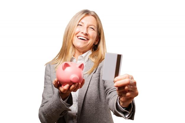 Vrouw bedrijf piggy bank