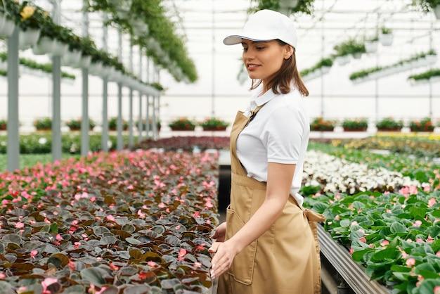 Vrouw controleert de kwaliteit van de bloemen in de kas