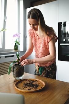 Vrouw die bloem opnieuw plant met behulp van online instructies op laptop