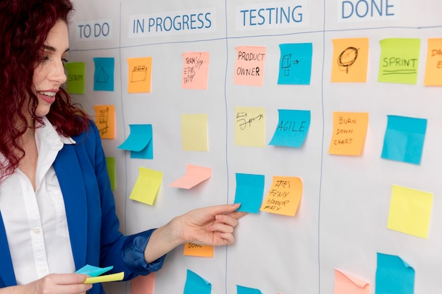 Vrouw die businessplan voorstelt