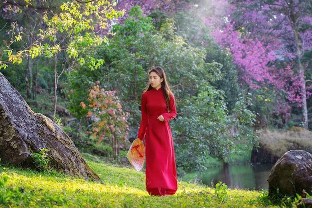 Vrouw die de cultuur van vietnam traditioneel in het park van de kersenbloesem draagt.