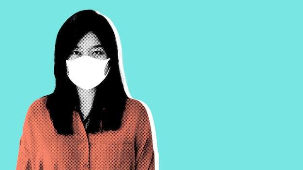 Vrouw die een gezichtsmasker draagt tijdens de pandemieillustratie van het coronavirus