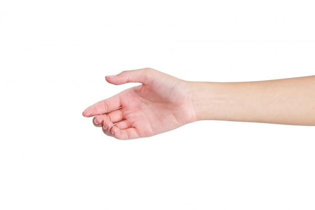 Vrouw die een hand voor handdruk voorkant geeft die op wit wordt geïsoleerd