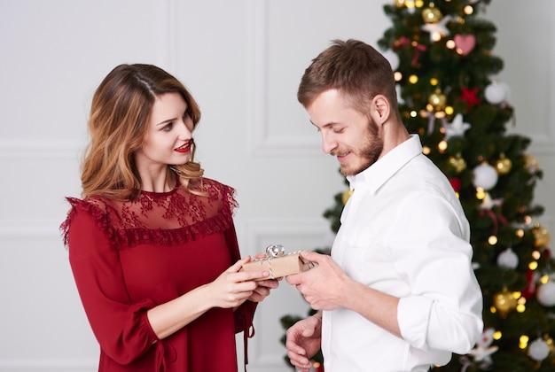 Vrouw die een kerstcadeau geeft aan de mens