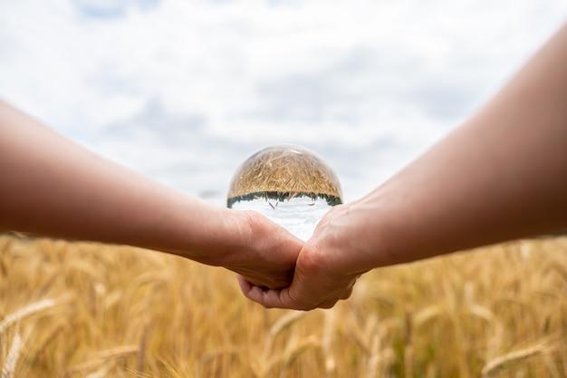 Vrouw die een kristallen bol over tarwegebied houdt
