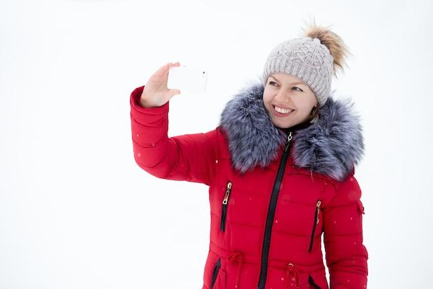 Vrouw die een selfie