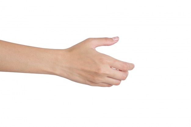 Vrouw die hand voor handdruk achterkant geeft die op wit wordt geïsoleerd