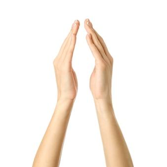 Vrouw die handen houdt of meet