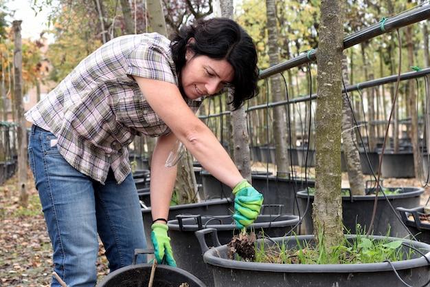 Vrouw die in het tuincentrum werkt