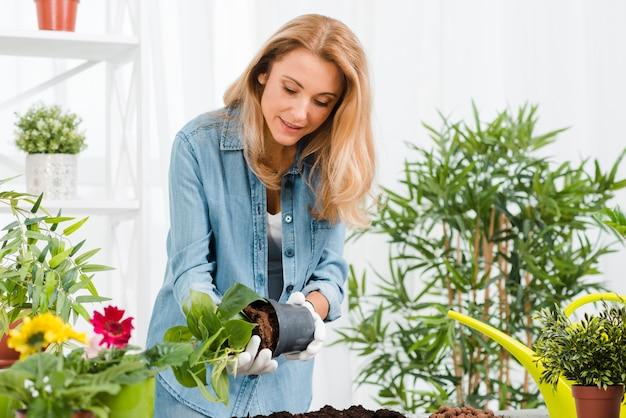 Vrouw die in serre bloemen plant