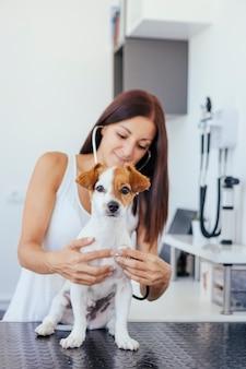 Vrouw die medische vaardigheden op een hond uitoefenen