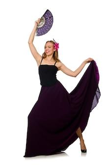 Vrouw die met geïsoleerde ventilator danst