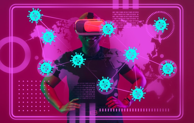 Vrouw die moderne interfacetechnologie en digitaal laageffect gebruikt als informatie over de verspreiding van de coronaviruspandemie. analyseren van de situatie met 's werelds telling van gevallen, gezondheidszorg, medicijnen en zaken.