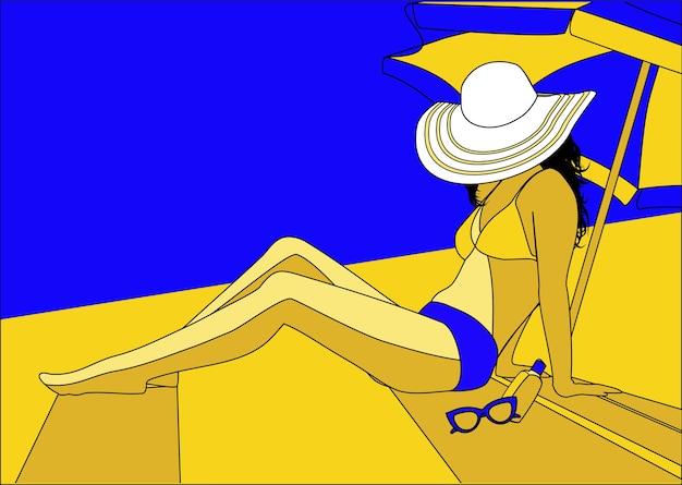 Vrouw die op het strandzand zonnebaadt onder een parasol. zomerbeeld in blauw en geel.