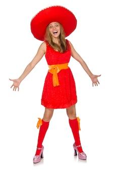 Vrouw die sombrero draagt