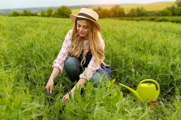 Vrouw die werkt op de boerderij
