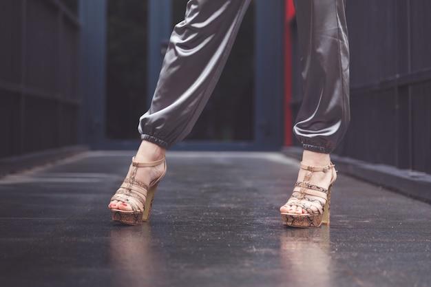 Vrouw die zilveren elegante broek draagt
