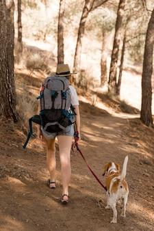 Vrouw en haar hond wandelen in het bos vanaf de achterkant schot