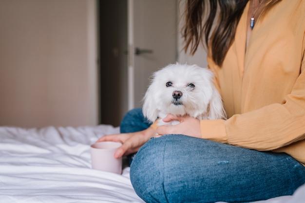 Vrouw en haar schattige hond thuis thee drinken