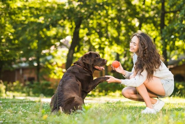 Vrouw en hond het spelen met bal in park