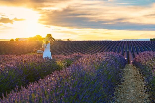 Vrouw gekleed in het wit met mand in de hand in een lavendelveld
