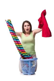 Vrouw gevoel septed na het doen van vuile was