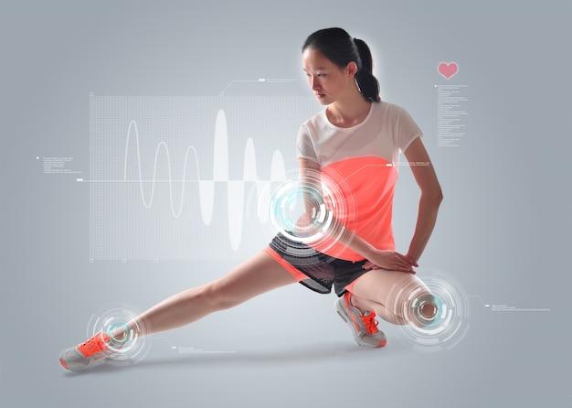Vrouw haar benen strekken met statistieken achtergrond