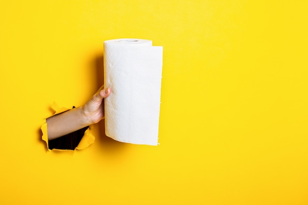 Vrouw hand houdt witte papieren handdoeken