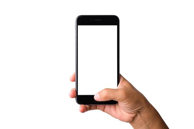 Vrouw hand met een smartphone leeg wit scherm