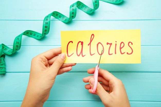 Vrouw hand met kaart met het woord calorieën. calorieën verminderen. bovenaanzicht