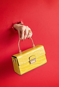 Vrouw hand met mode handtas door het gat in rode papieren muur. chique, stijl, modecollectie, trends, beautyblogconcept