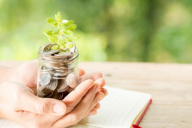 Vrouw hand met plant groeit van munten fles