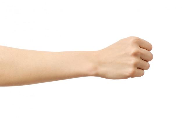 Vrouw hand met vuist gebaar
