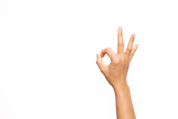 Vrouw hand ok teken