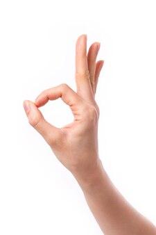 Vrouw hand omhoog ok teken