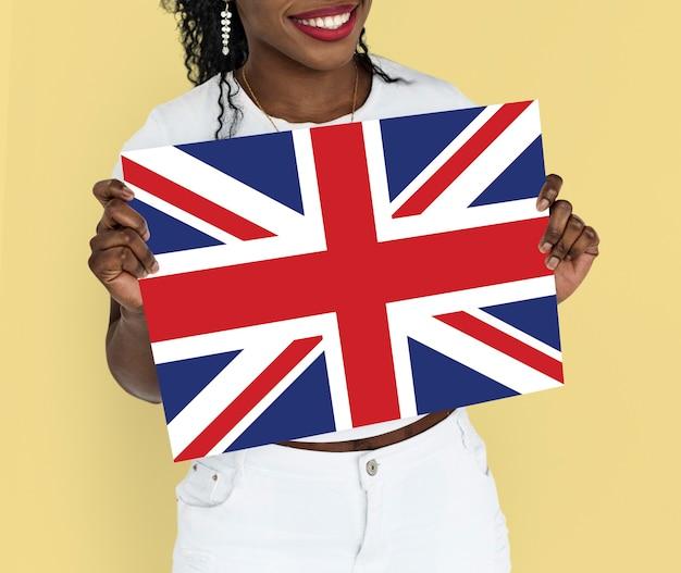 Vrouw handen houden engeland uk vlag patriottisme