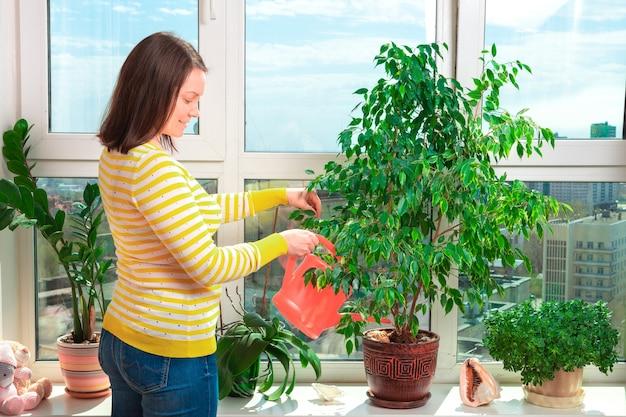 Vrouw het water geven bloemenhuis op de vensterbank