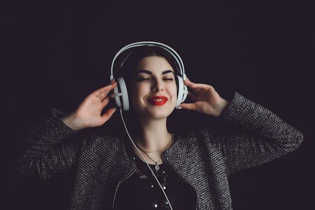 Vrouw hoofdtelefoon