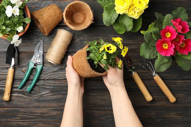 Vrouw houd pot. houten tafel met bloemen en tuingereedschap, bovenaanzicht