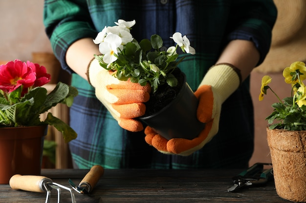 Vrouw houd pot, houten tafel met bloemen en tuingereedschap, vooraanzicht