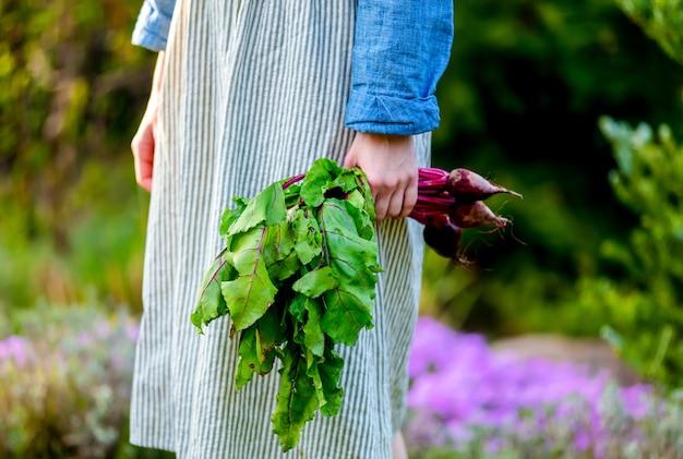 Vrouw houdt bieten in een hand in een tuin