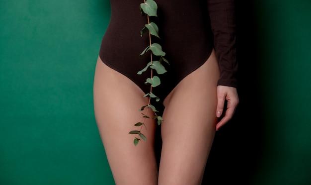 Vrouw houdt eucalyptus in haar hand op voetniveau