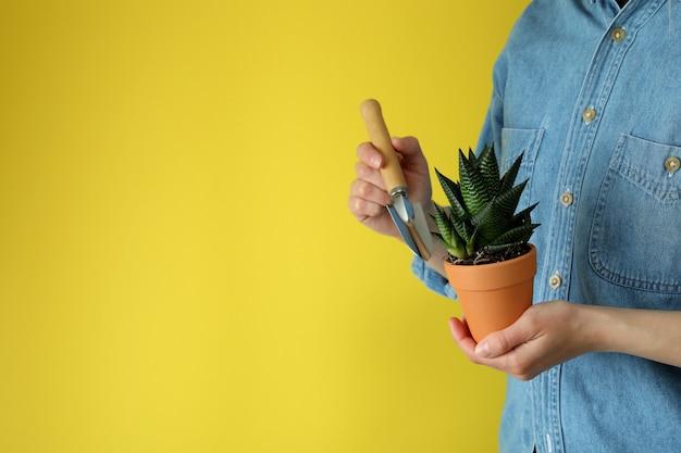 Vrouw houdt tuinschop en pot met plant op geel